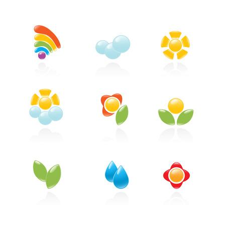 Ogród i pogoda zestaw ikon. Vector-Illustration