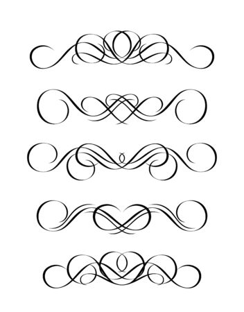 5 versions of abstract ornament in vintage style, symmetric inward, isolated. Vector-Illustration. Stock Vector - 3489805