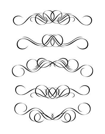 fancy border: 5 versiones de resumen adorno en el estilo de �poca, sim�trica hacia adentro, aislados. Ilustraci�n de vector. Vectores