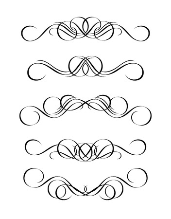 5 versions of abstract ornament in vintage style, symmetric inward, isolated. Vector-Illustration.