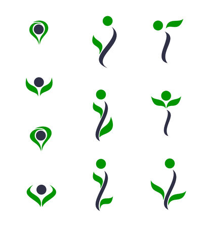 recycle symbol vector: Set of logos - plant. Vector-Illustration