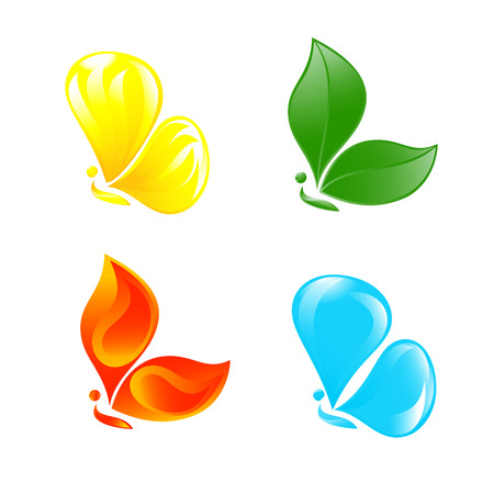 colourful fire: Butterfly as four elements. Vector-Illustration.