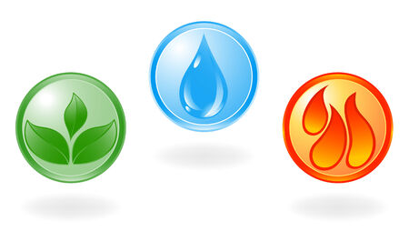 conflagration: Plant, water and flame symbol. Vector Illustration