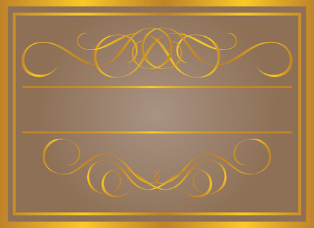 Vintage frame in gold. Symmetric inward. Vector Illustration Stock Vector - 3599154