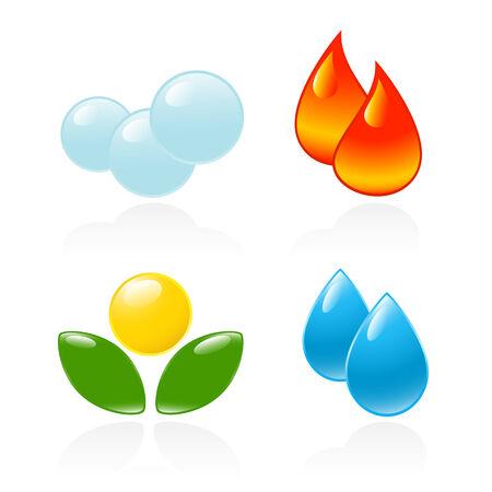 reflejo en el agua: Cuatro elementos. Fuego, agua, aire, suelo. Ilustraci�n del vector -