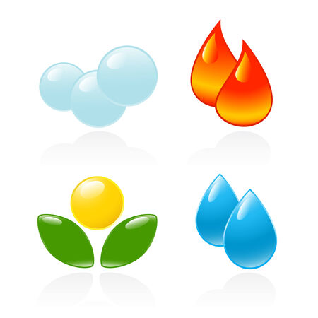 blue flame: Four elements. Fire, water, air, ground. Vector-Illustration Illustration