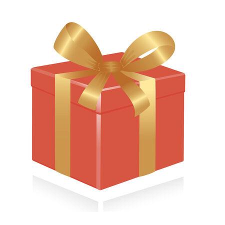 ruban or: Bo�te cadeau avec ruban dor�. Vector-Illustration Illustration