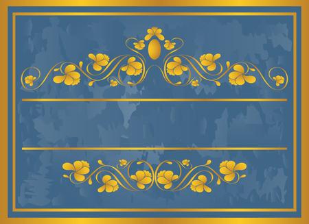 Vintage frame in gold. Symmetric inward. Vector Illustration Vector