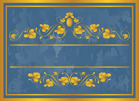Vintage frame in gold. Symmetric inward. Vector Illustration Stock fotó - 3599174