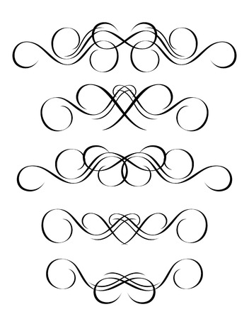 fancy border: 5 versions of abstract ornament in vintage style, symmetric inward, isolated. Vector-Illustration.