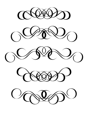 inward: 5 versions of abstract ornament in vintage style, symmetric inward, isolated. Vector-Illustration.