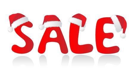 christmas profits: Santas red hats over SALE-letter. Christmas shopping. Vector-Illustration