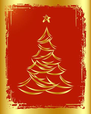 Golden Christmas tree design. Vector-Illustration.