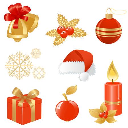 Boże Narodzenie ikonami w kolorze czerwonym i złotym. Vector-Illustration