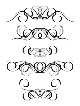 versions: 5 versions of abstract ornament in vintage style, symmetric inward, isolated. Vector-Illustration.