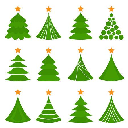 Conjunto de árboles de Navidad. -Ilustración del vector.