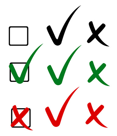 to mark: Check mark, tick and cross. Vector illustration