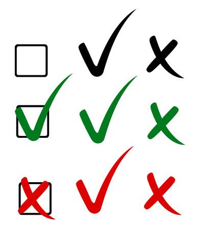 Marca de verificación, garrapatas y cruz. Ilustración vectorial