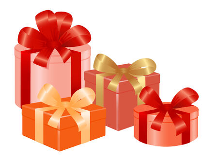 Four giftboxes with ribbon. Vector-Illustration Vector