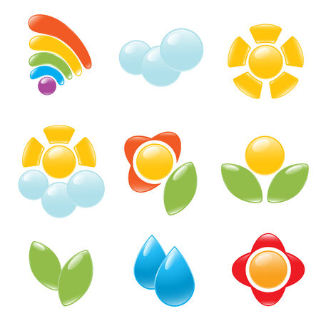 cloudy day: Garden and weather icon set. Vector-Illustration