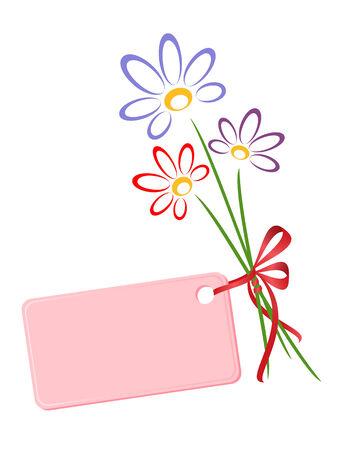 Bukiet kwiatów z zdobione dar karty. Vector-Illustration