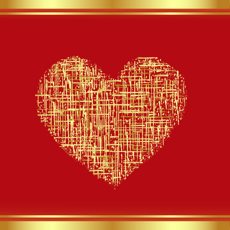 valentineday: Patch-Heart in gold, the Valentines card. Vector-Illustration