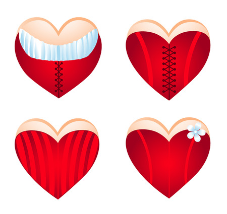 Corseted heart, icon set. Vector-Illustration Stock Vector - 4143697