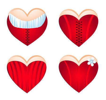 Corseted heart, icon set. Vector-Illustration Stock Vector - 4143697