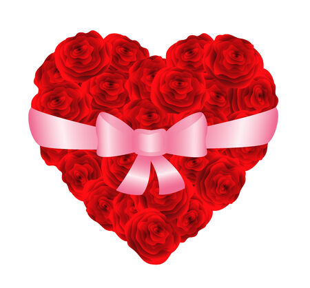 Heart of red roses bonded with ribbon. Vector-Illustration Vector