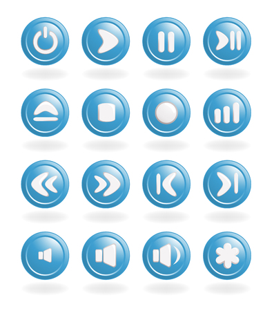 Audio-video control buttons. Vector-Illustration Illustration