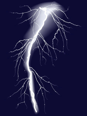 Bolts of lightning in dark sky. Vector-Illustration Vector