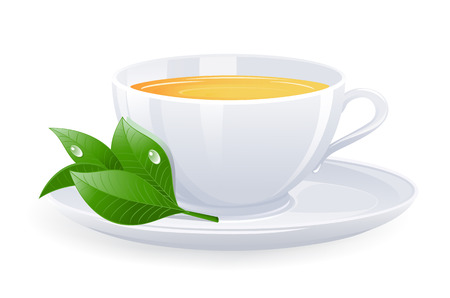 three leaves: Isolated cup of tea. Vector-Illustration