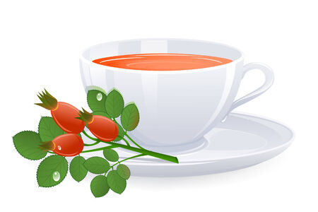 Cup of tea with branch of rose-hips. Vector-Illustration