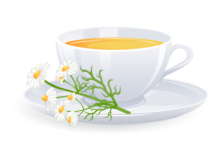 camomile tea: Cup of tea with camomile flowers. Vector-Illustration
