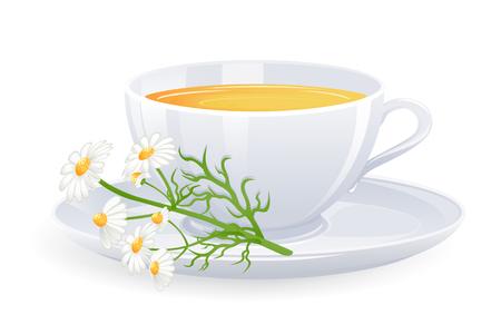 Taza de t� de manzanilla con flores. Ilustraci�n de vector Foto de archivo - 4505189