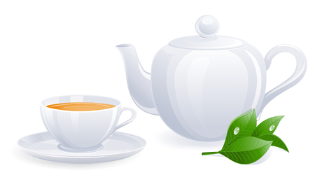 pleasant: White teacup and teapot with tealeaf. Vector-Illustration Illustration