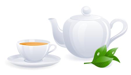 White teacup and teapot with tealeaf. Vector-Illustration Illustration