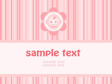 Baby girl arrival announcement card. Vector-Illustration