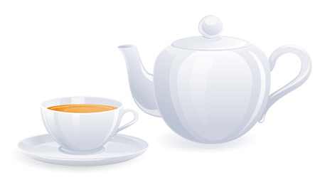 fragrant: White teacup and teapot. Vector-Illustration
