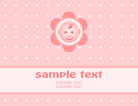 Baby girl arrival announcement card. Vector-Illustration Vector