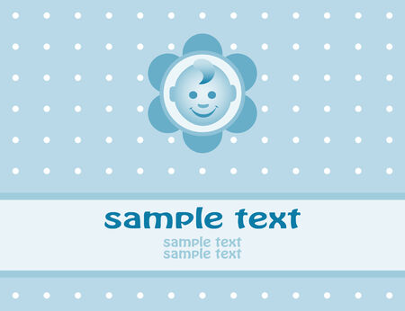 round face: Baby boy arrival announcement card. Vector-Illustration Illustration