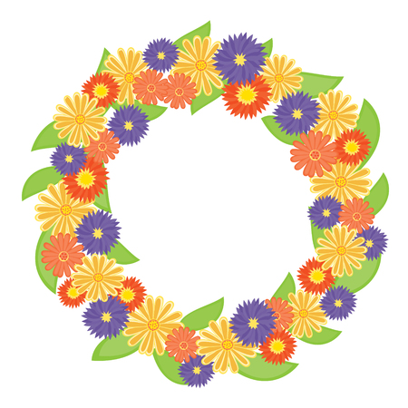 Colorful flower wreath. Vector-Illustration Vector