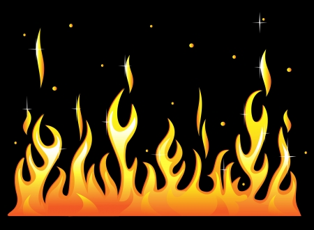 Silhouette of burning fire flame. Vector-Illustration Vector