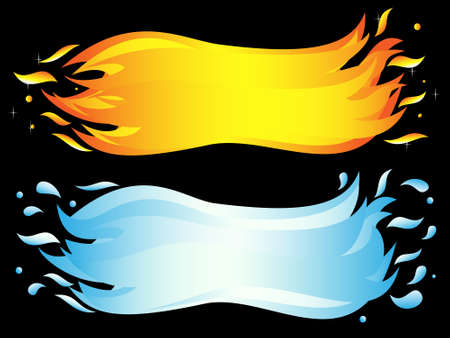 antipode: Banner of two elements: burning flame and sea wave. Vector-Illustration