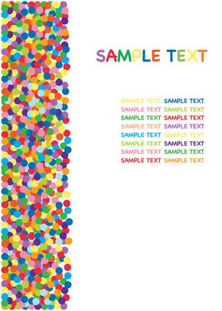 Colorful confetti border, background. Vector Illustration