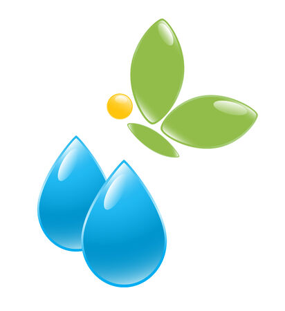 young leaf: Icon of water drop with green butterfly. Vector-Illustration