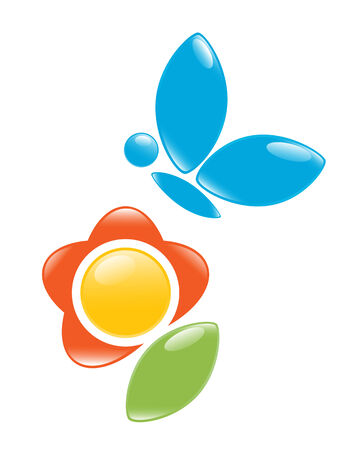 Icon of blossom with butterfly. Vector-Illustration Vector