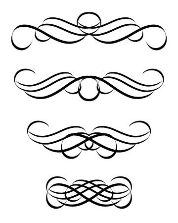 fancy border: Set de adorno resumen en estilo vintage. Vector-Ilustraci�n.