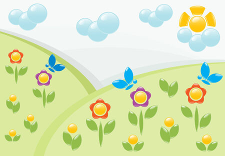 Summer landscape with flowers. Vector-Illustration Vector