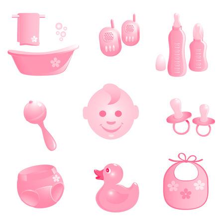 Baby-Ikony w kolorze różowym. Vector-Illustration